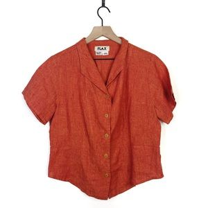 FLAX Orange Linen Button Up Short Sleeve Shirt S